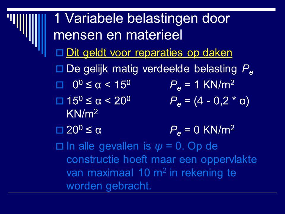 1 Variabele belastingen door mensen en materieel  Dit geldt voor reparaties op daken  De gelijk matig verdeelde belasting P e  0 0 ≤ α < 15 0 P e =