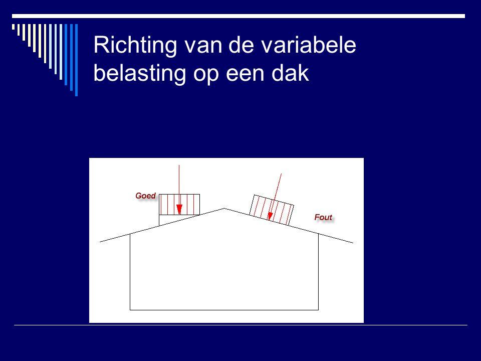 Voorbeeld krachten plat dak  Gegeven: plat dak, veiligheidsklasse 3  γ f;q = 1.5  Plat dak met 30mm grind = 0.5 Kn/m 1  Gevraagd: bereken M max op de LH 24 gelamineerde houten ligger RS ten gevolge van de permanente en de variabele belasting.