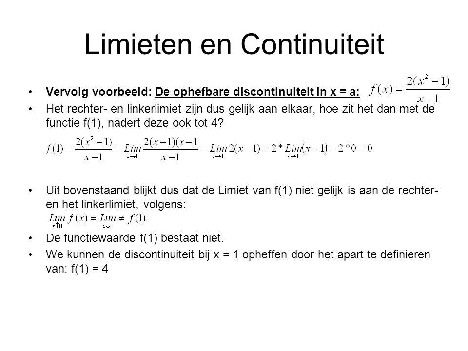 Limieten en Continuiteit Vervolg voorbeeld: De ophefbare discontinuiteit in x = a: Het rechter- en linkerlimiet zijn dus gelijk aan elkaar, hoe zit he