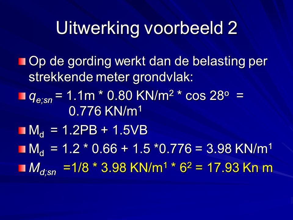 Op de gording werkt dan de belasting per strekkende meter grondvlak: q e;sn = 1.1m * 0.80 KN/m 2 * cos 28 o = 0.776 KN/m 1 M d = 1.2PB + 1.5VB M d = 1