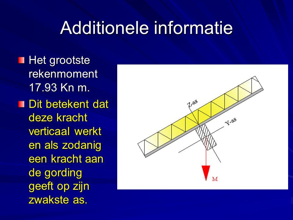 Additionele informatie Het grootste rekenmoment 17.93 Kn m. Dit betekent dat deze kracht verticaal werkt en als zodanig een kracht aan de gording geef