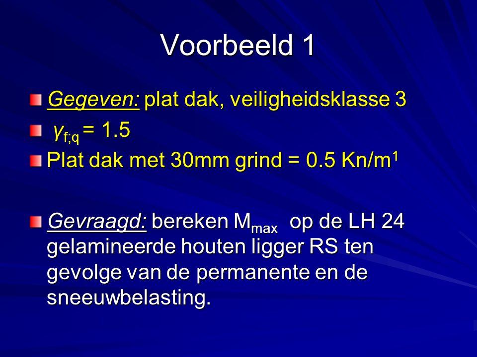 Voorbeeld 1 Gegeven: plat dak, veiligheidsklasse 3 γ f;q = 1.5 γ f;q = 1.5 Plat dak met 30mm grind = 0.5 Kn/m 1 Gevraagd: bereken M max op de LH 24 ge
