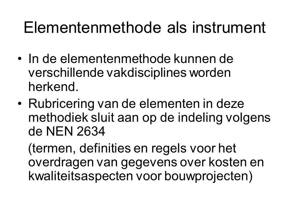 Elementenmethode als instrument In de elementenmethode kunnen de verschillende vakdisciplines worden herkend. Rubricering van de elementen in deze met