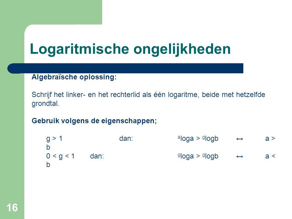 16 Logaritmische ongelijkheden Algebraïsche oplossing: Schrijf het linker- en het rechterlid als één logaritme, beide met hetzelfde grondtal. Gebruik