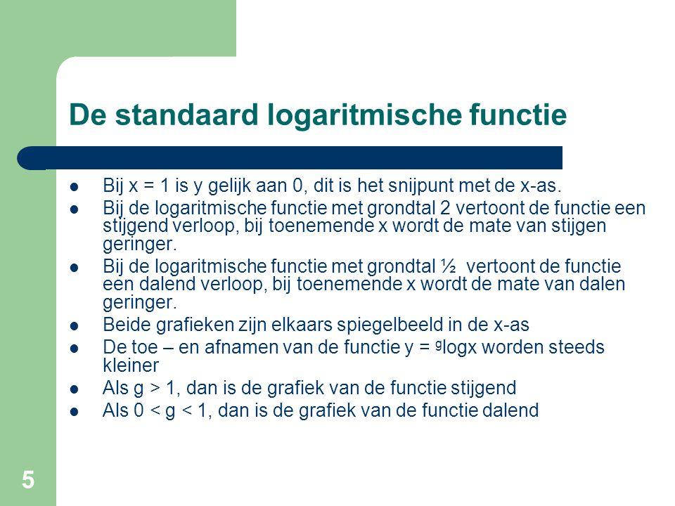 5 De standaard logaritmische functie Bij x = 1 is y gelijk aan 0, dit is het snijpunt met de x-as. Bij de logaritmische functie met grondtal 2 vertoon