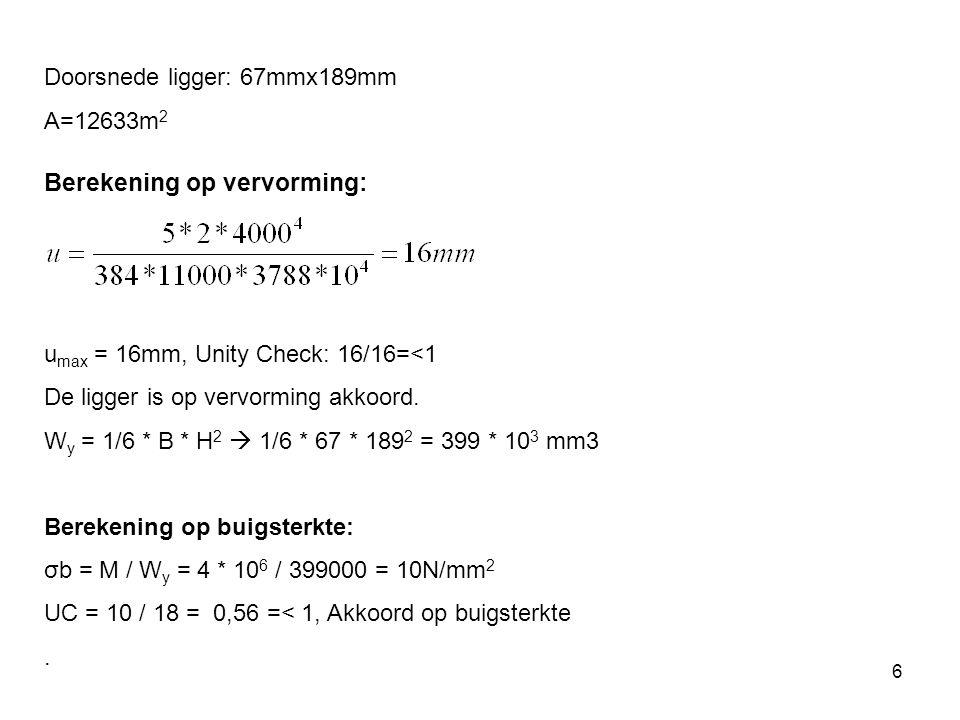 6 Doorsnede ligger: 67mmx189mm A=12633m 2 Berekening op vervorming: u max = 16mm, Unity Check: 16/16=<1 De ligger is op vervorming akkoord.