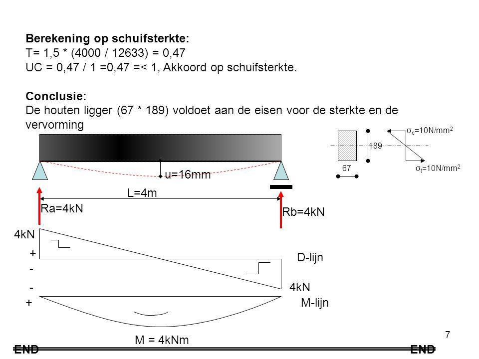 7 Berekening op schuifsterkte: Τ= 1,5 * (4000 / 12633) = 0,47 UC = 0,47 / 1 =0,47 =< 1, Akkoord op schuifsterkte.