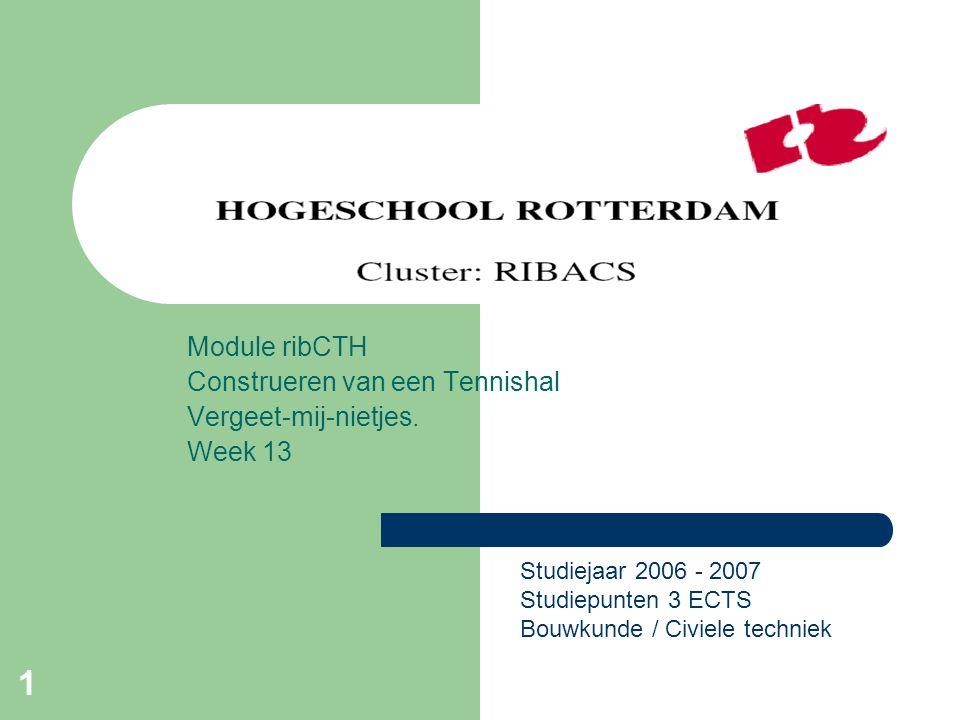 1 Module ribCTH Construeren van een Tennishal Vergeet-mij-nietjes. Week 13 Studiejaar 2006 - 2007 Studiepunten 3 ECTS Bouwkunde / Civiele techniek