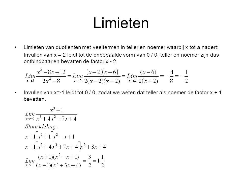 Limieten Limieten van quotienten met veeltermen in teller en noemer waarbij x tot a nadert: Invullen van x = 2 leidt tot de onbepaalde vorm van 0 / 0, teller en noemer zijn dus ontbindbaar en bevatten de factor x - 2 Invullen van x=-1 leidt tot 0 / 0, zodat we weten dat teller als noemer de factor x + 1 bevatten.
