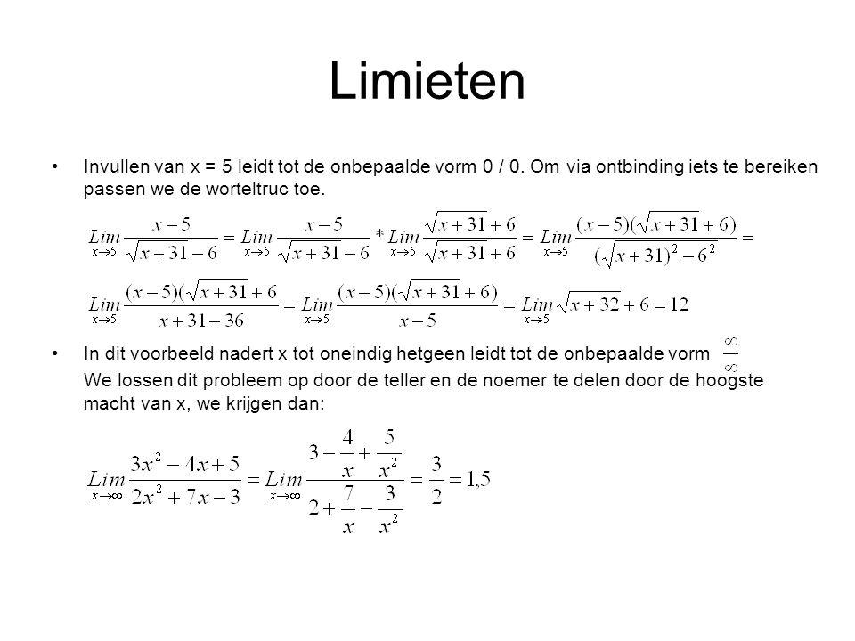 Limieten Invullen van x = 5 leidt tot de onbepaalde vorm 0 / 0.