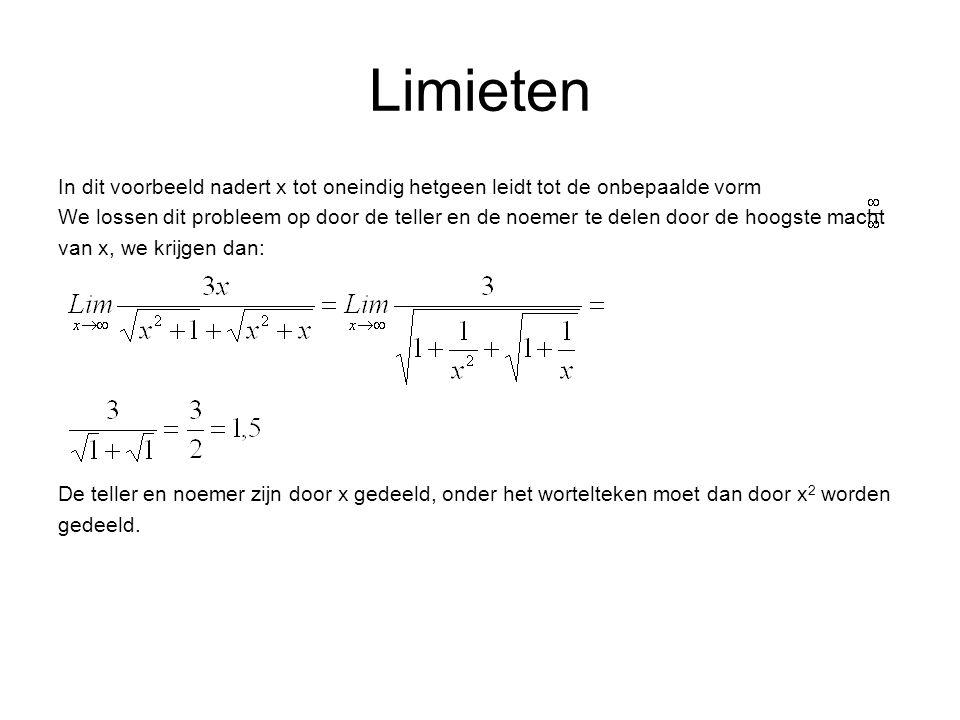 Limieten In dit voorbeeld nadert x tot oneindig hetgeen leidt tot de onbepaalde vorm We lossen dit probleem op door de teller en de noemer te delen door de hoogste macht van x, we krijgen dan: De teller en noemer zijn door x gedeeld, onder het wortelteken moet dan door x 2 worden gedeeld.