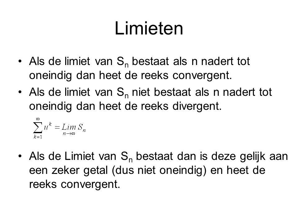 Limieten Als de limiet van S n bestaat als n nadert tot oneindig dan heet de reeks convergent.