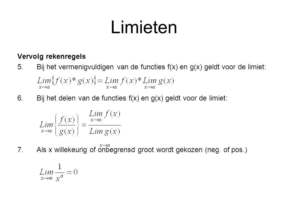 Limieten Vervolg rekenregels 5.Bij het vermenigvuldigen van de functies f(x) en g(x) geldt voor de limiet: 6.Bij het delen van de functies f(x) en g(x) geldt voor de limiet: 7.Als x willekeurig of onbegrensd groot wordt gekozen (neg.