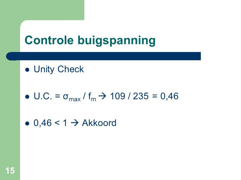 15 Controle buigspanning Unity Check U.C. = σ max / f m  109 / 235 = 0,46 0,46 < 1  Akkoord