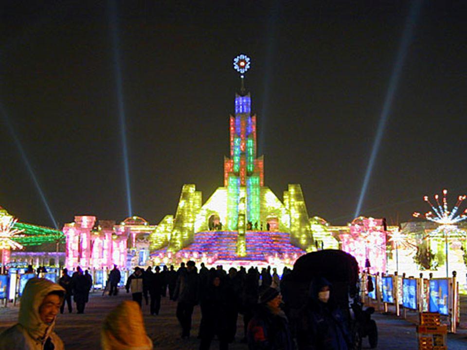 Zelfs de zonsondergang in Harbin was prachtig en de temperaturen daalden nog meer.