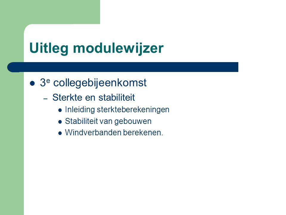 Uitleg modulewijzer 3 e collegebijeenkomst – Sterkte en stabiliteit Inleiding sterkteberekeningen Stabiliteit van gebouwen Windverbanden berekenen.