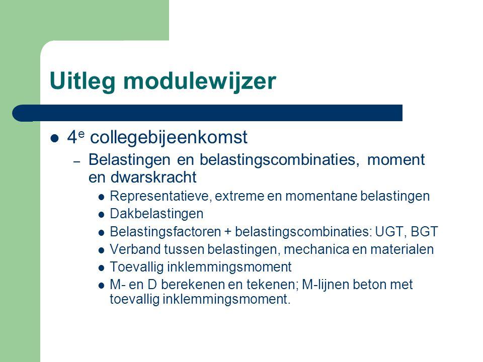 Uitleg modulewijzer 4 e collegebijeenkomst – Belastingen en belastingscombinaties, moment en dwarskracht Representatieve, extreme en momentane belasti