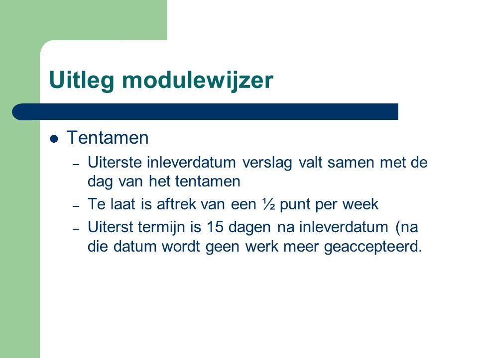 Uitleg modulewijzer Tentamen – Uiterste inleverdatum verslag valt samen met de dag van het tentamen – Te laat is aftrek van een ½ punt per week – Uite