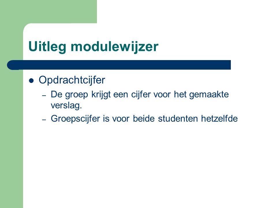 Uitleg modulewijzer Opdrachtcijfer – De groep krijgt een cijfer voor het gemaakte verslag. – Groepscijfer is voor beide studenten hetzelfde