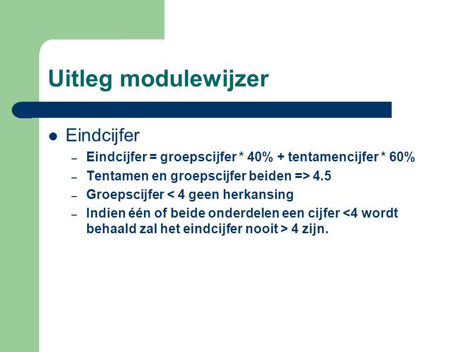 Uitleg modulewijzer Eindcijfer – Eindcijfer = groepscijfer * 40% + tentamencijfer * 60% – Tentamen en groepscijfer beiden => 4.5 – Groepscijfer < 4 ge