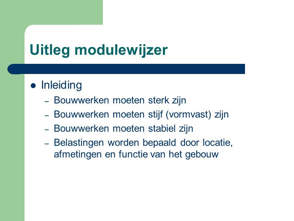 Uitleg modulewijzer Inleiding – Bouwwerken moeten sterk zijn – Bouwwerken moeten stijf (vormvast) zijn – Bouwwerken moeten stabiel zijn – Belastingen