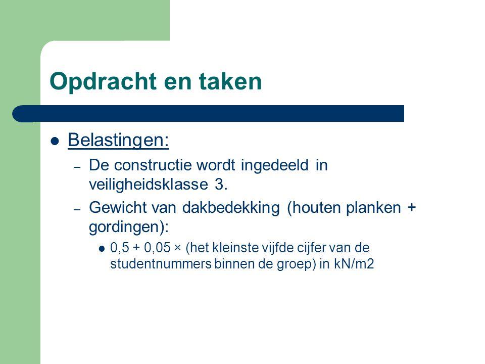 Opdracht en taken Belastingen: – De constructie wordt ingedeeld in veiligheidsklasse 3. – Gewicht van dakbedekking (houten planken + gordingen): 0,5 +