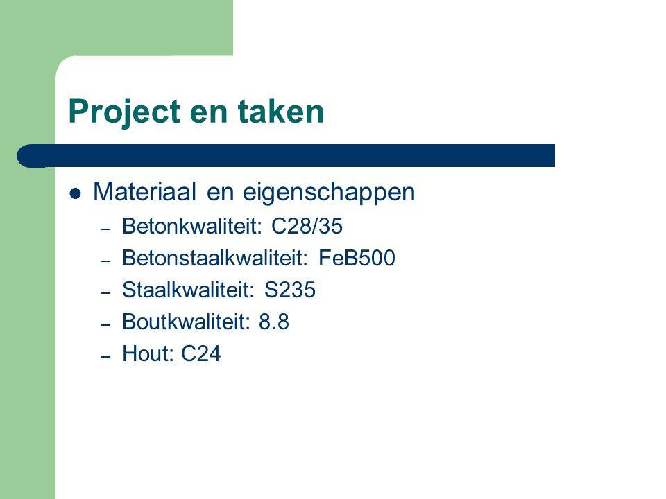 Project en taken Materiaal en eigenschappen – Betonkwaliteit: C28/35 – Betonstaalkwaliteit: FeB500 – Staalkwaliteit: S235 – Boutkwaliteit: 8.8 – Hout: