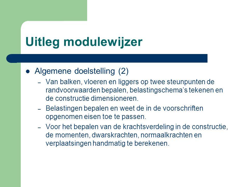 Uitleg modulewijzer Algemene doelstelling (2) – Van balken, vloeren en liggers op twee steunpunten de randvoorwaarden bepalen, belastingschema's teken