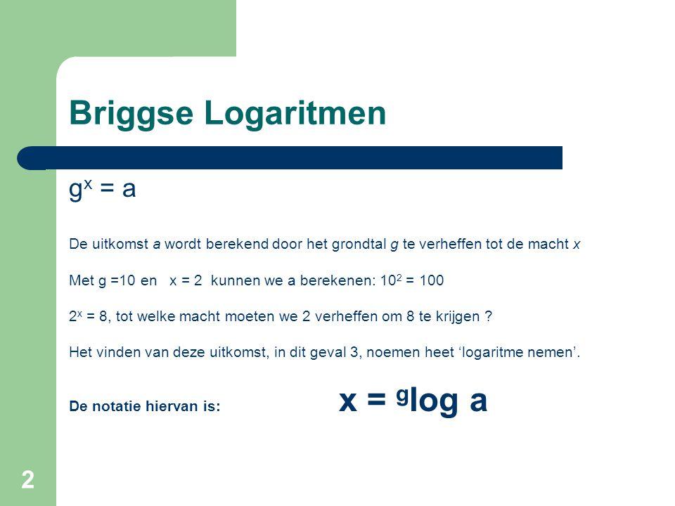 2 Briggse Logaritmen g x = a De uitkomst a wordt berekend door het grondtal g te verheffen tot de macht x Met g =10 en x = 2 kunnen we a berekenen: 10