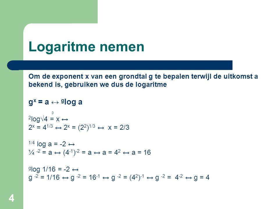 4 Logaritme nemen Om de exponent x van een grondtal g te bepalen terwijl de uitkomst a bekend is, gebruiken we dus de logaritme g x = a ↔ g log a 3 2