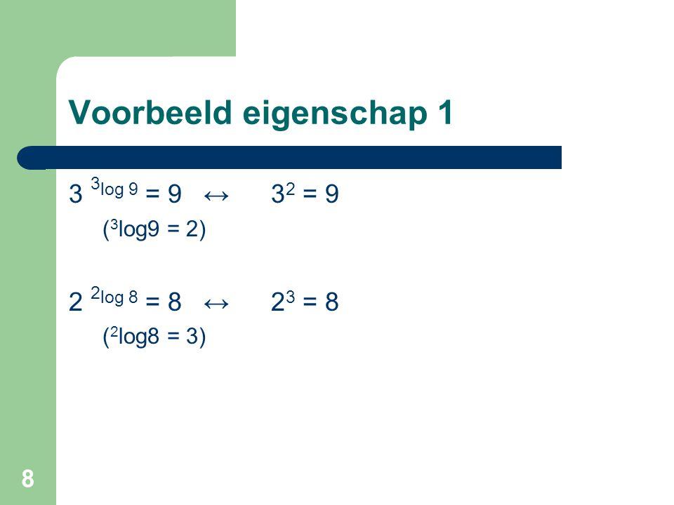 9 Eigenschap 2 g log a = x1 en g log b = x2 dan geldt ook: g x1 = a en g x2 = b, Zodat: a * b = ab = g x1 * g x2 = g x1 + x2 Dus: g x1 + x2 = ab, Zodat ook: g logab = x1 + x1 = g log a + g log b Het bovenstaand bewijst eigenschap 2, welk luidt: g log a + g log b = g logab (a > 0 en b > 0, gelijke grondtallen) Bijv.