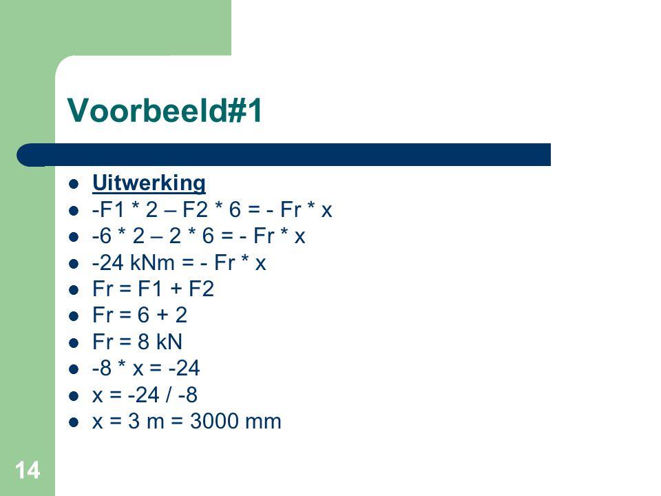 14 Voorbeeld#1 Uitwerking -F1 * 2 – F2 * 6 = - Fr * x -6 * 2 – 2 * 6 = - Fr * x -24 kNm = - Fr * x Fr = F1 + F2 Fr = 6 + 2 Fr = 8 kN -8 * x = -24 x =