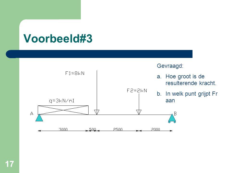 17 Voorbeeld#3 Gevraagd: a.Hoe groot is de resulterende kracht. b.In welk punt grijpt Fr aan