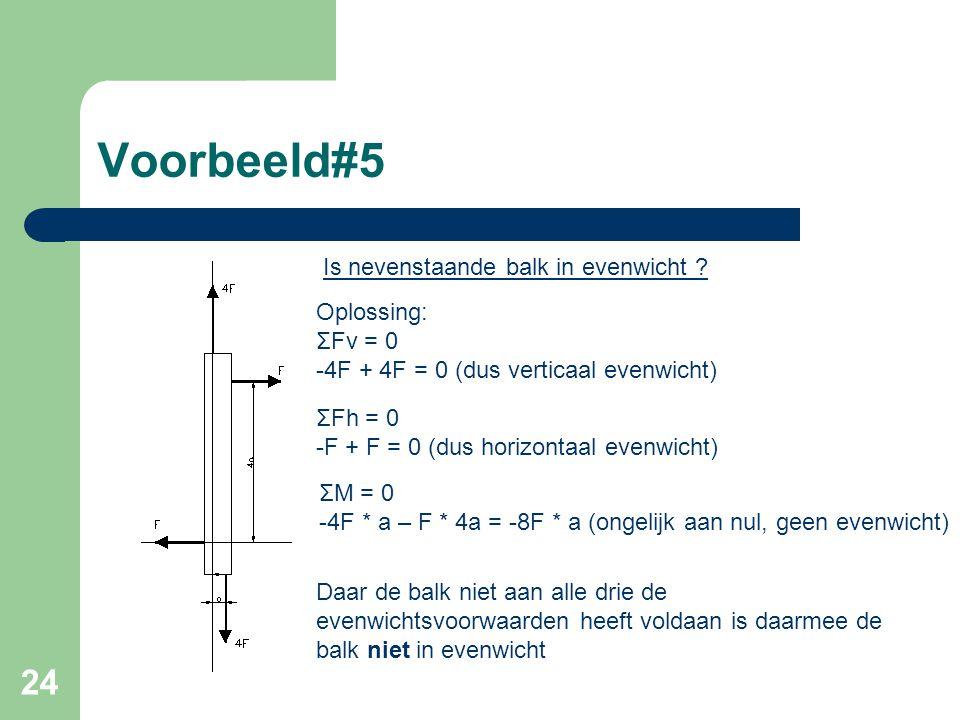24 Voorbeeld#5 Is nevenstaande balk in evenwicht ? Oplossing: ΣFv = 0 -4F + 4F = 0 (dus verticaal evenwicht) ΣFh = 0 -F + F = 0 (dus horizontaal evenw