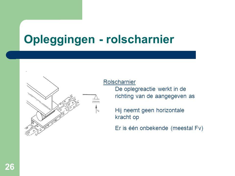 26 Opleggingen - rolscharnier Rolscharnier De oplegreactie werkt in de richting van de aangegeven as Hij neemt geen horizontale kracht op Er is één on