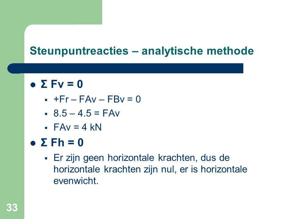 33 Steunpuntreacties – analytische methode Σ Fv = 0  +Fr – FAv – FBv = 0  8.5 – 4.5 = FAv  FAv = 4 kN Σ Fh = 0  Er zijn geen horizontale krachten,