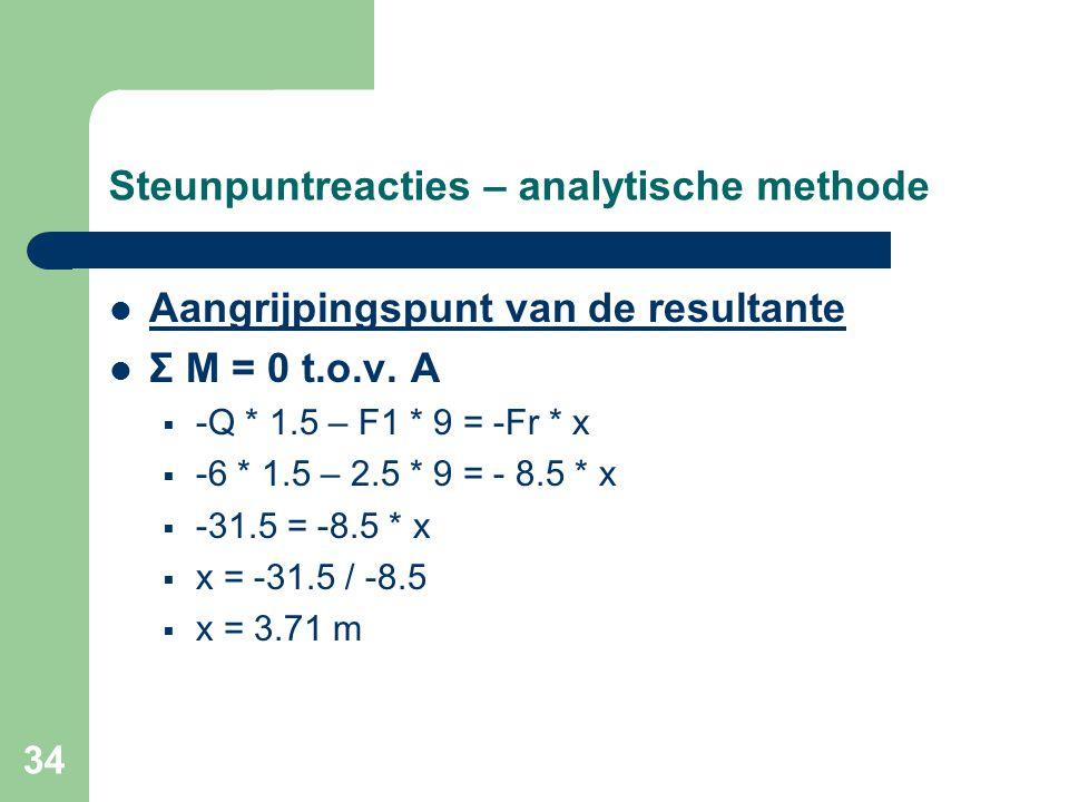 34 Steunpuntreacties – analytische methode Aangrijpingspunt van de resultante Σ M = 0 t.o.v. A  -Q * 1.5 – F1 * 9 = -Fr * x  -6 * 1.5 – 2.5 * 9 = -