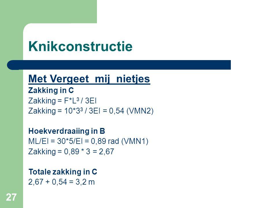 27 Knikconstructie Met Vergeet_mij_nietjes Zakking in C Zakking = F*L 3 / 3EI Zakking = 10*3 3 / 3EI = 0,54 (VMN2) Hoekverdraaiing in B ML/EI = 30*5/E
