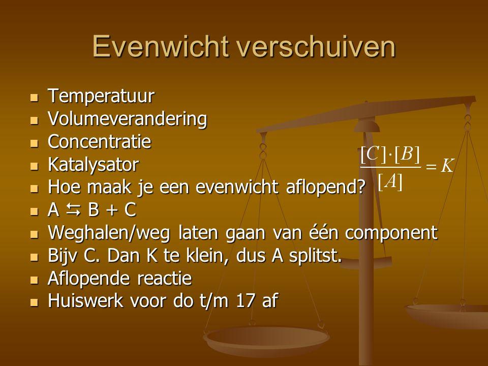 Evenwicht verschuiven Temperatuur Temperatuur Volumeverandering Volumeverandering Concentratie Concentratie Katalysator Katalysator Hoe maak je een evenwicht aflopend.