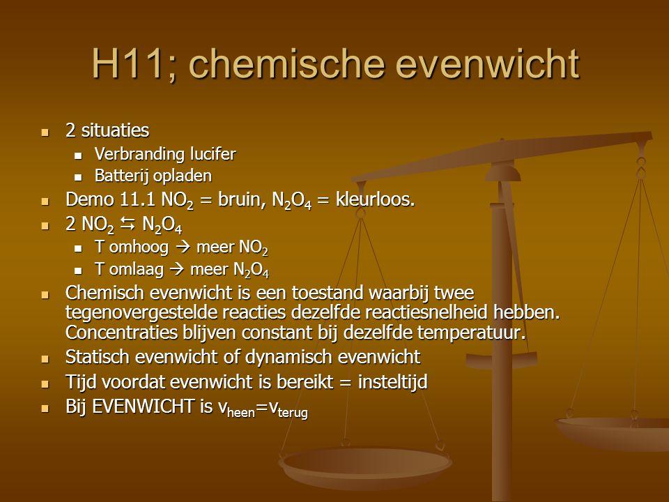 H11; chemische evenwicht 2 situaties 2 situaties Verbranding lucifer Verbranding lucifer Batterij opladen Batterij opladen Demo 11.1 NO 2 = bruin, N 2 O 4 = kleurloos.