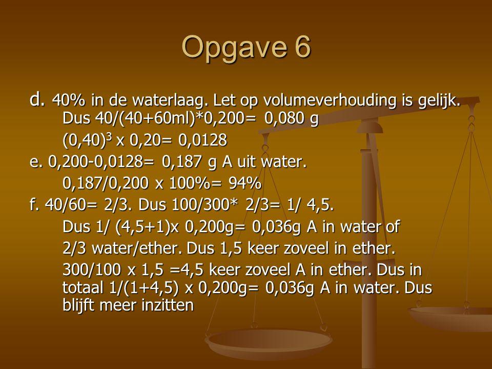 Opgave 6 d.40% in de waterlaag. Let op volumeverhouding is gelijk.