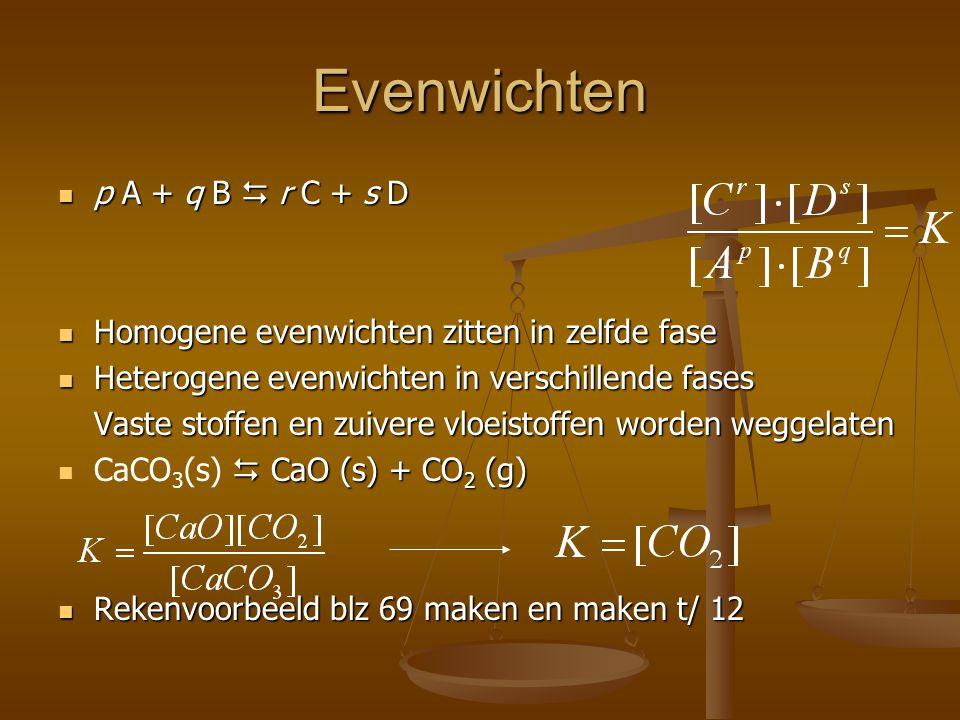 Evenwichten p A + q B  r C + s D p A + q B  r C + s D Homogene evenwichten zitten in zelfde fase Homogene evenwichten zitten in zelfde fase Heterogene evenwichten in verschillende fases Heterogene evenwichten in verschillende fases Vaste stoffen en zuivere vloeistoffen worden weggelaten  CaO (s) + CO 2 (g) CaCO 3 (s)  CaO (s) + CO 2 (g) Rekenvoorbeeld blz 69 maken en maken t/ 12 Rekenvoorbeeld blz 69 maken en maken t/ 12