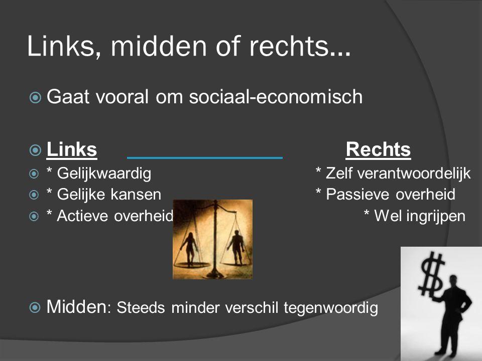 7 Links, midden of rechts…  Gaat vooral om sociaal-economisch  Links Rechts  * Gelijkwaardig* Zelf verantwoordelijk  * Gelijke kansen* Passieve ov
