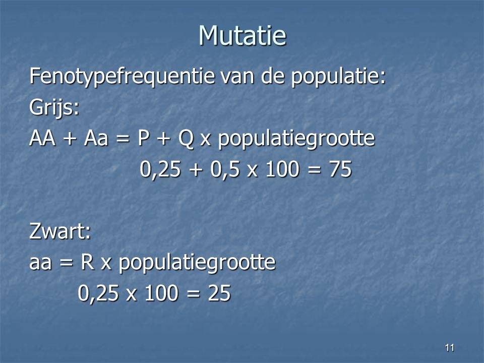 11 Mutatie Fenotypefrequentie van de populatie: Grijs: AA + Aa = P + Q x populatiegrootte 0,25 + 0,5 x 100 = 75 0,25 + 0,5 x 100 = 75Zwart: aa = R x p