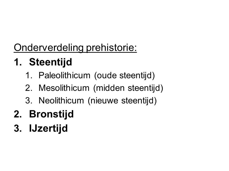 Onderverdeling prehistorie: 1. Steentijd 1. Paleolithicum (oude steentijd) 2. Mesolithicum (midden steentijd) 3. Neolithicum (nieuwe steentijd) 2. Bro