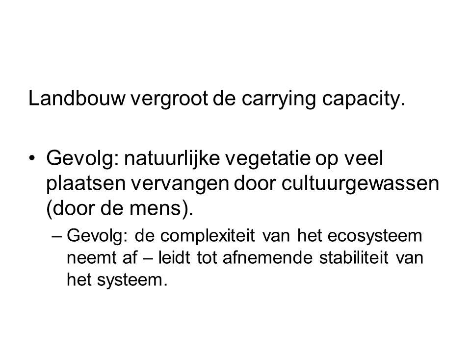 Landbouw vergroot de carrying capacity. Gevolg: natuurlijke vegetatie op veel plaatsen vervangen door cultuurgewassen (door de mens). –Gevolg: de comp