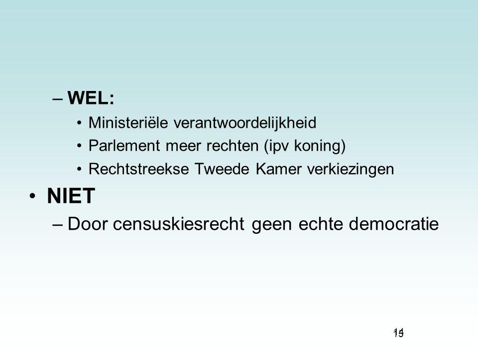 15 –WEL: Ministeriële verantwoordelijkheid Parlement meer rechten (ipv koning) Rechtstreekse Tweede Kamer verkiezingen NIET –Door censuskiesrecht geen