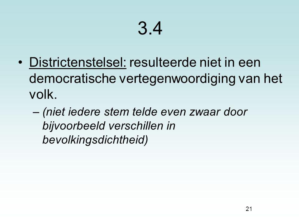 21 3.4 Districtenstelsel: resulteerde niet in een democratische vertegenwoordiging van het volk. –(niet iedere stem telde even zwaar door bijvoorbeeld