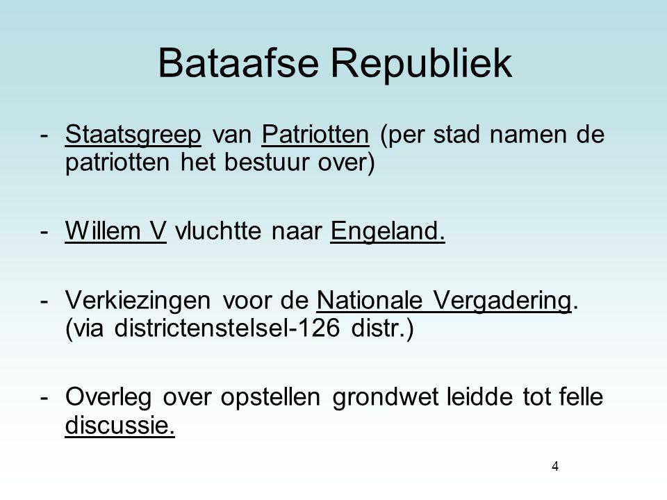 4 Bataafse Republiek -Staatsgreep van Patriotten (per stad namen de patriotten het bestuur over) -Willem V vluchtte naar Engeland. -Verkiezingen voor
