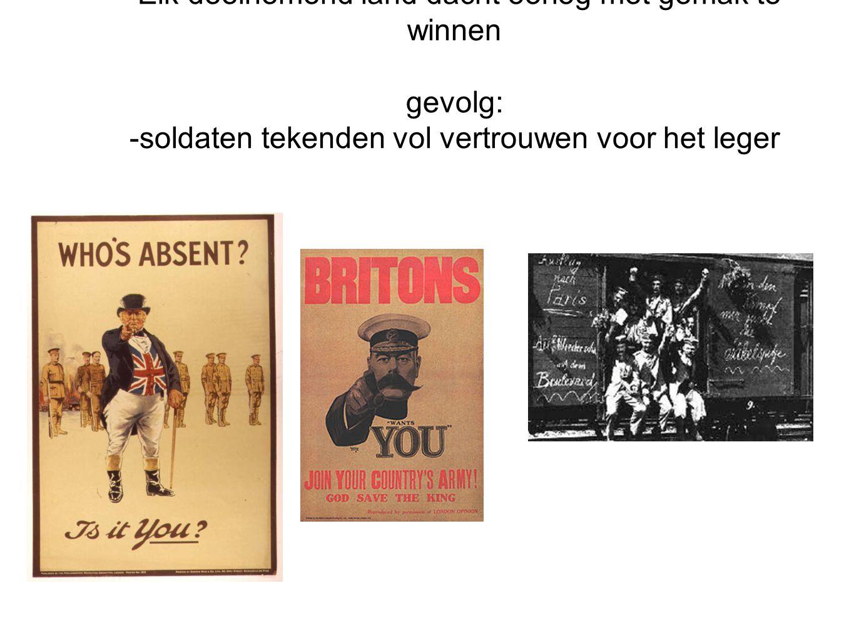 De start van WOI 1914 aannames: -De oorlog zou kort duren (zoals Pruissisch/Franse oorlog 1870) -Elk deelnemend land dacht oorlog met gemak te winnen
